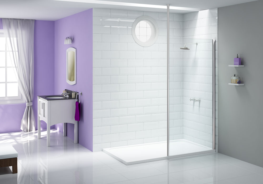 Wetroom Panel - Ionic_Showerwall_with_Vertical_Pole_LR - Showerwalls with vertical posts