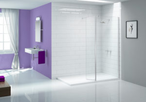 Walk in with shower panel -Wetroom Panel - Ionic_showerwall_swivel_LR
