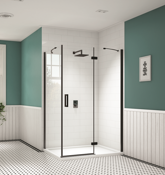 Merlyn Black Hinge Inline Shower Doors