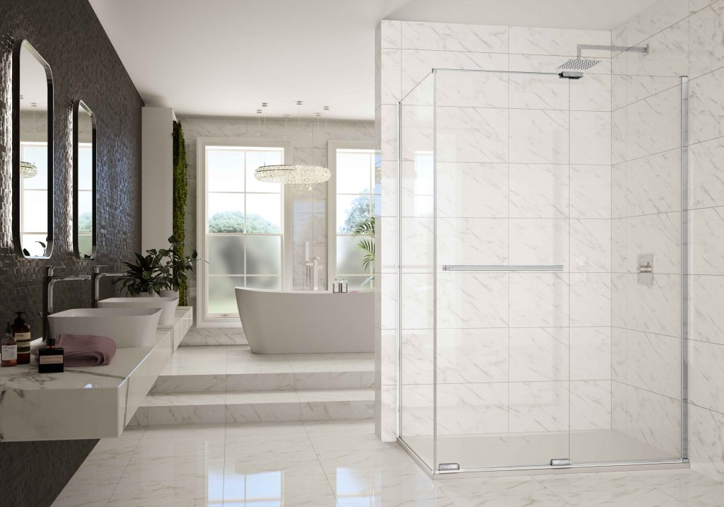 MERLYN Arysto X Sliding Shower Door with Side Panel