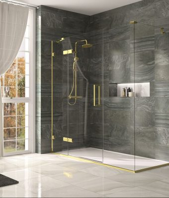 Brushed Brass shower cubicle with side panel_LR