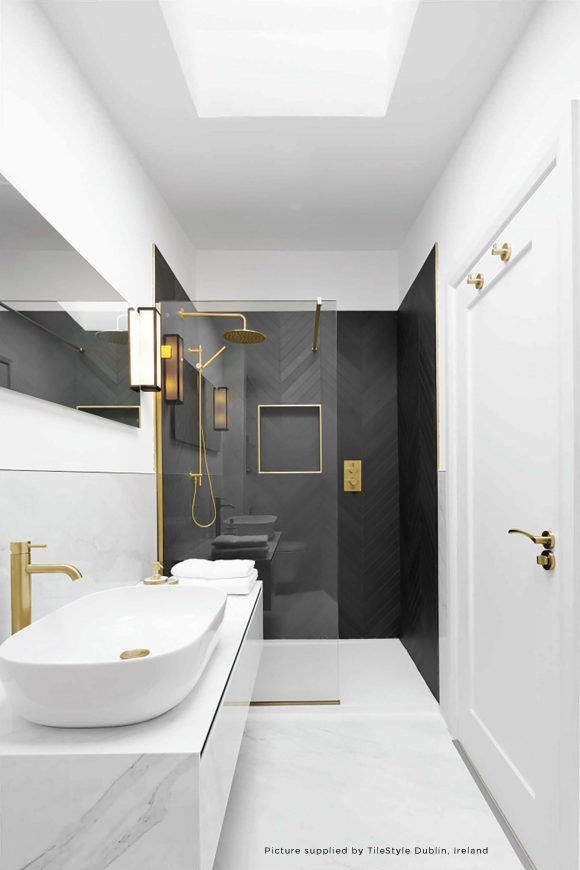 Brushed Brass Shower Wall